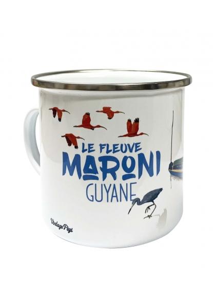 """Enamelled metal mug of Guiana """"Le fleuve Maroni"""""""