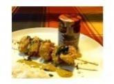 Brochettes de poulet, sauce aux saveurs antillaises