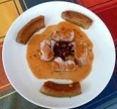 Filet mignon de porc, sauce chutney papayes/orange et rhum vieux de Guyane