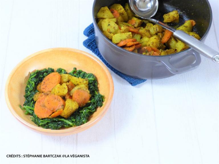 Légumes poêlés à la sauce Colombo sur lit de cresson