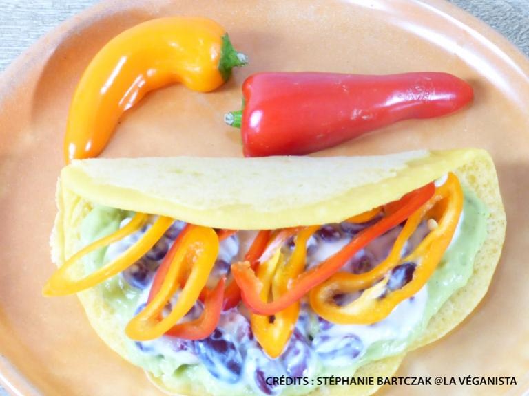 Tortilla au guacamole at à la pâte de piment papaye verte
